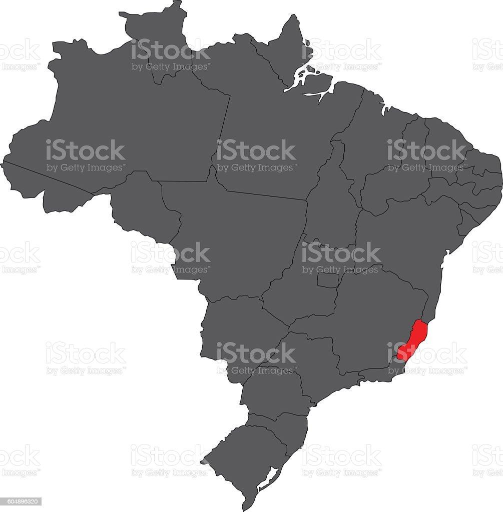 Espirito Santo red on gray Brazil map vector vector art illustration