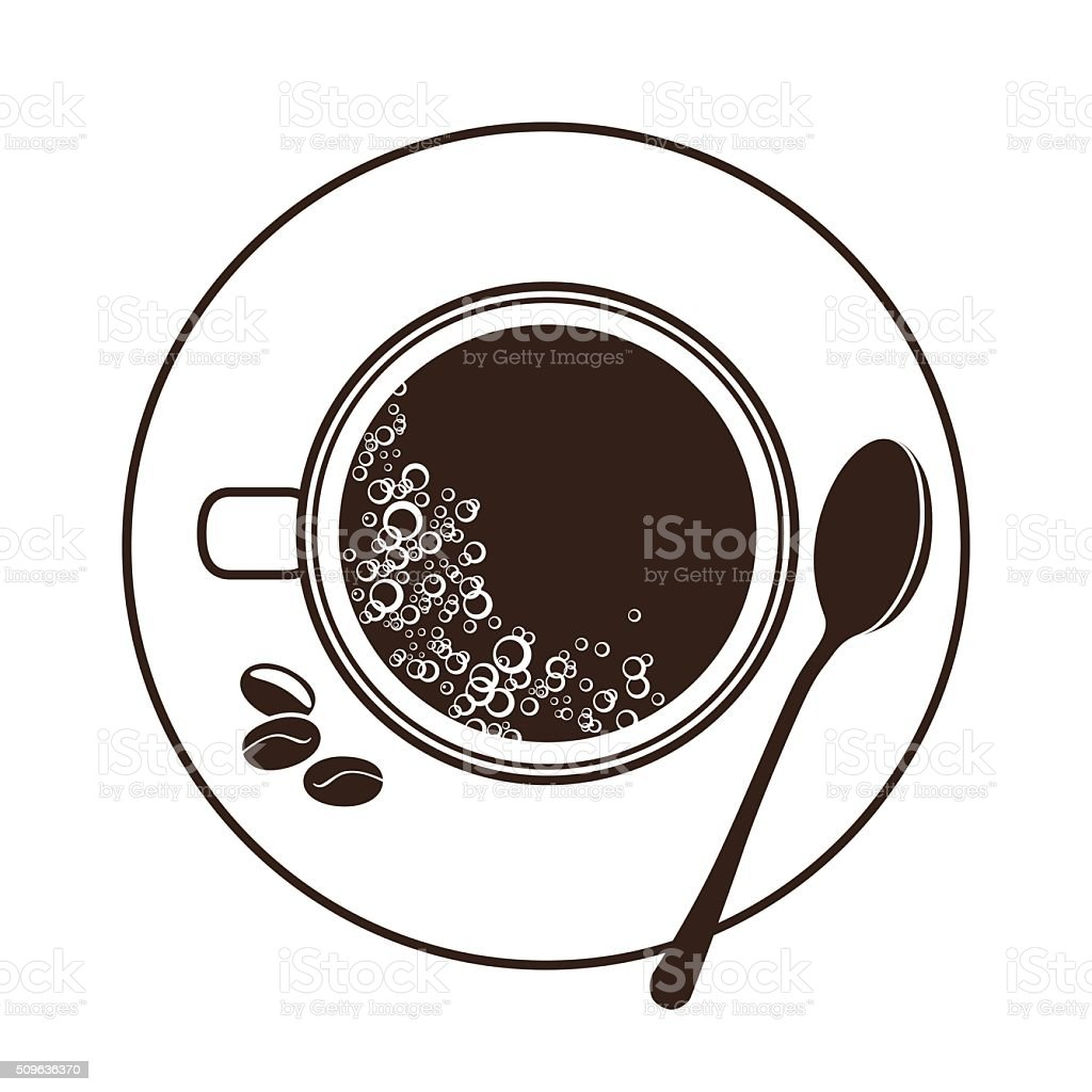 espresso cup and saucer top view vector art illustration