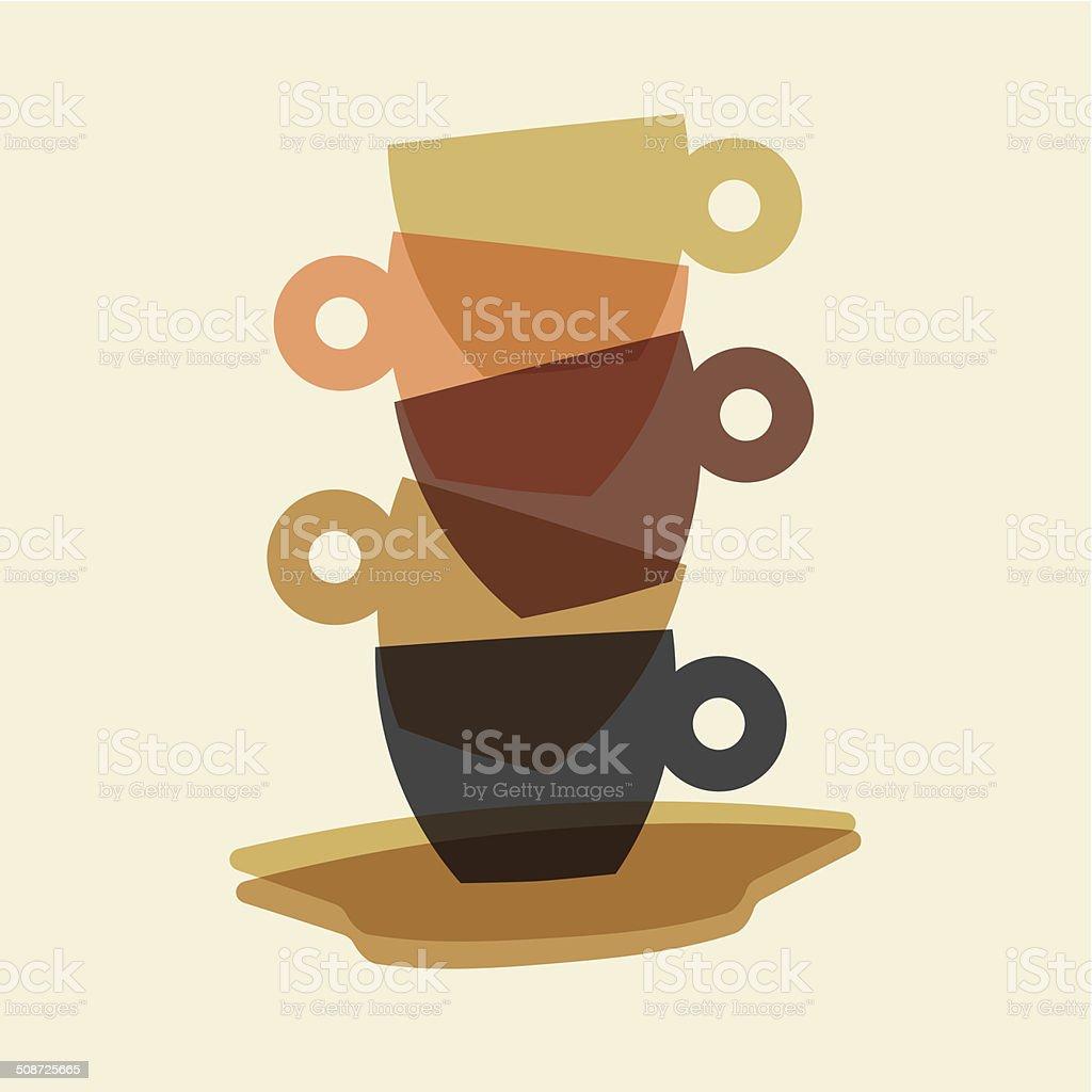 Espresso cups vector art illustration