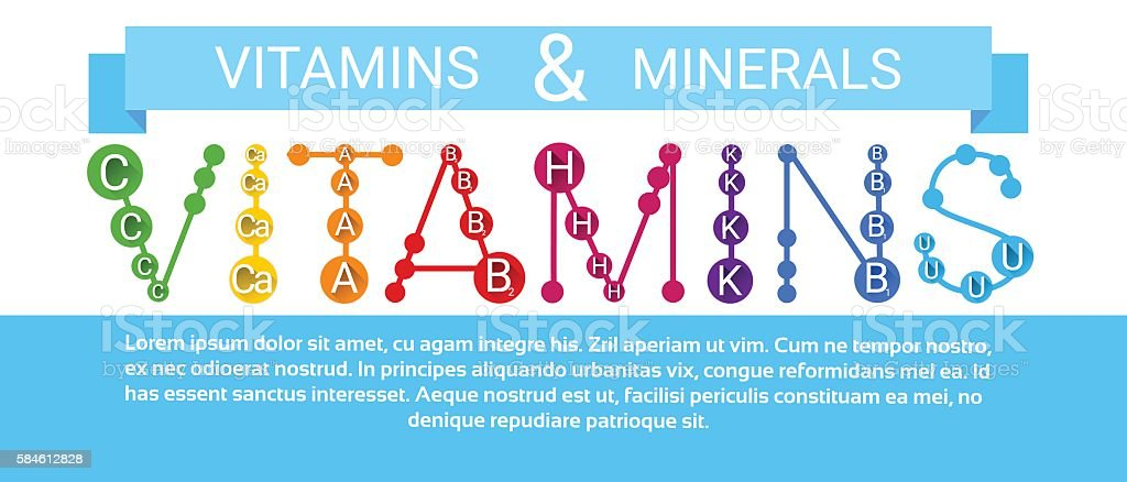 Essential Chemical Elements Nutrient Minerals Vitamins vector art illustration