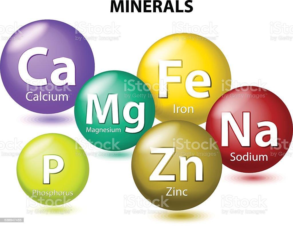 Essential Minerals vector art illustration