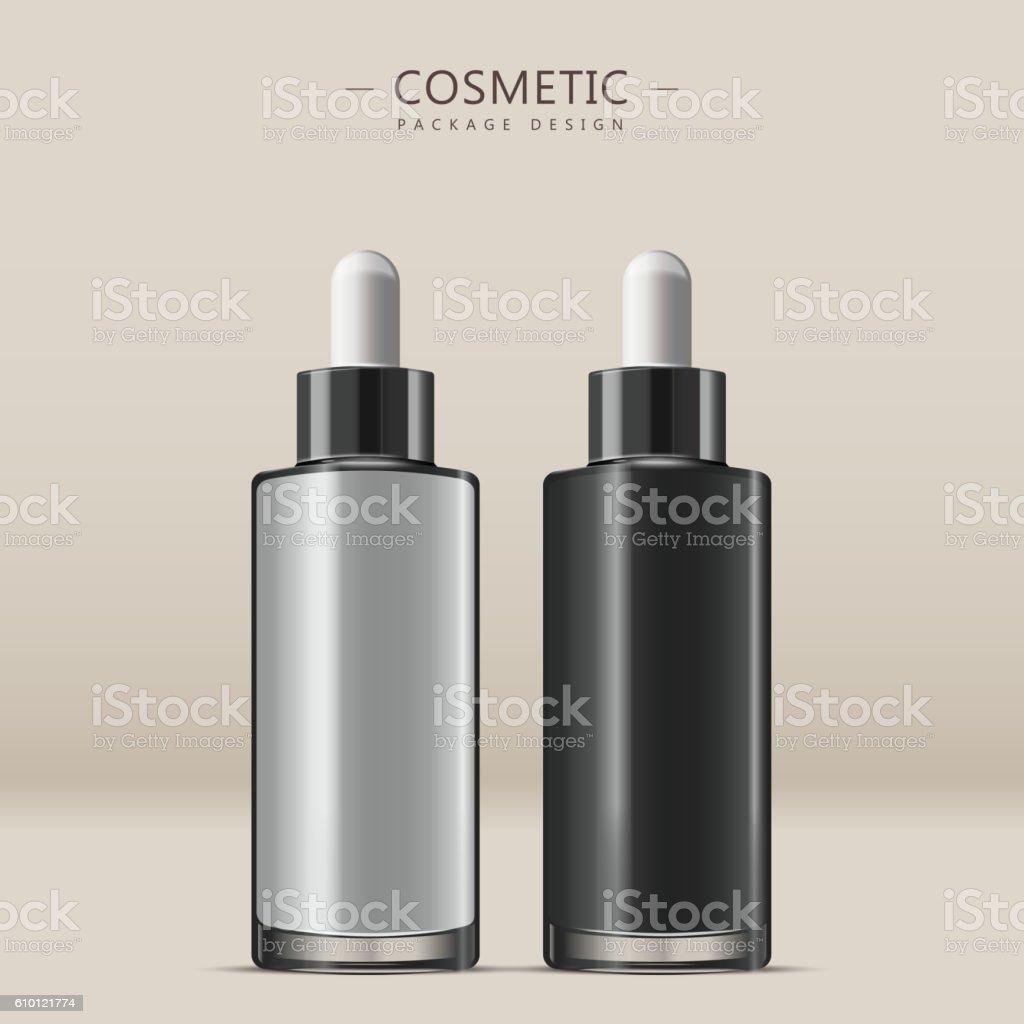 Essential oil glass bottle vector art illustration