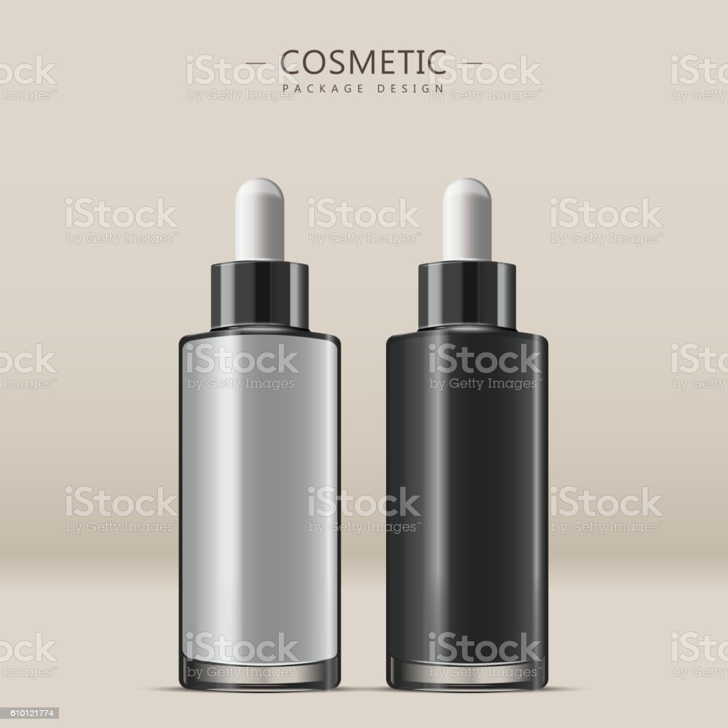 Essential oil glass bottle vector art illustration