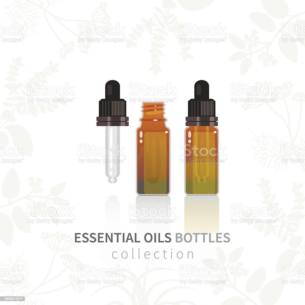 Essential oil glass bottle with dropper vector art illustration