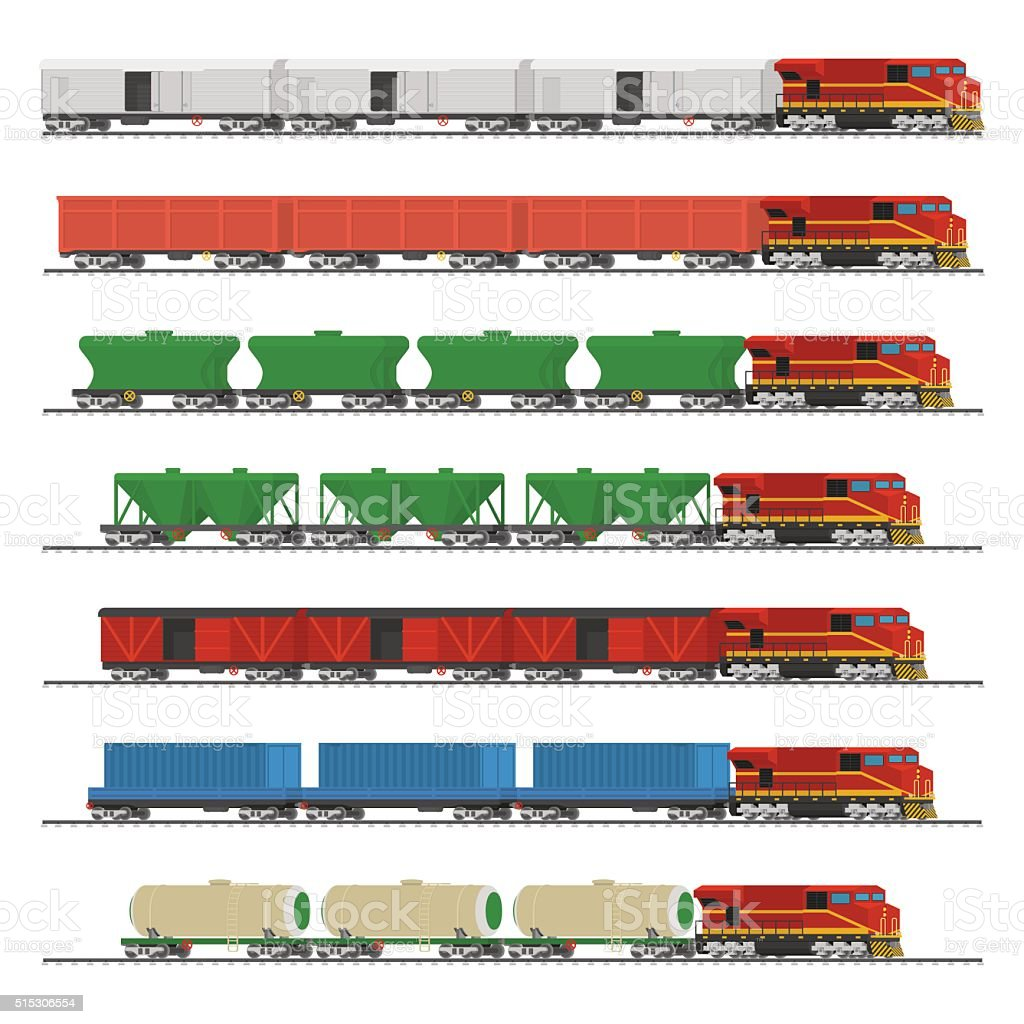 Essential Trains. Collection of freight railway cars. vector art illustration