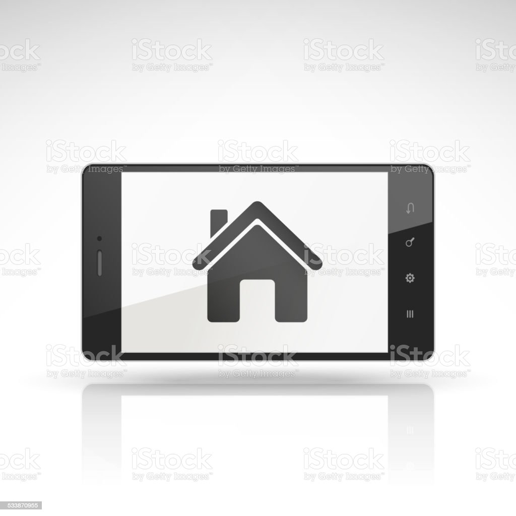 estate icon on mobile phone vector art illustration