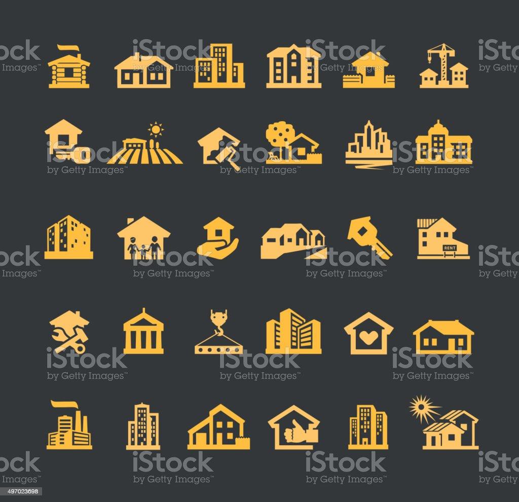 estate vector logo design template. house or construction, building icons vector art illustration