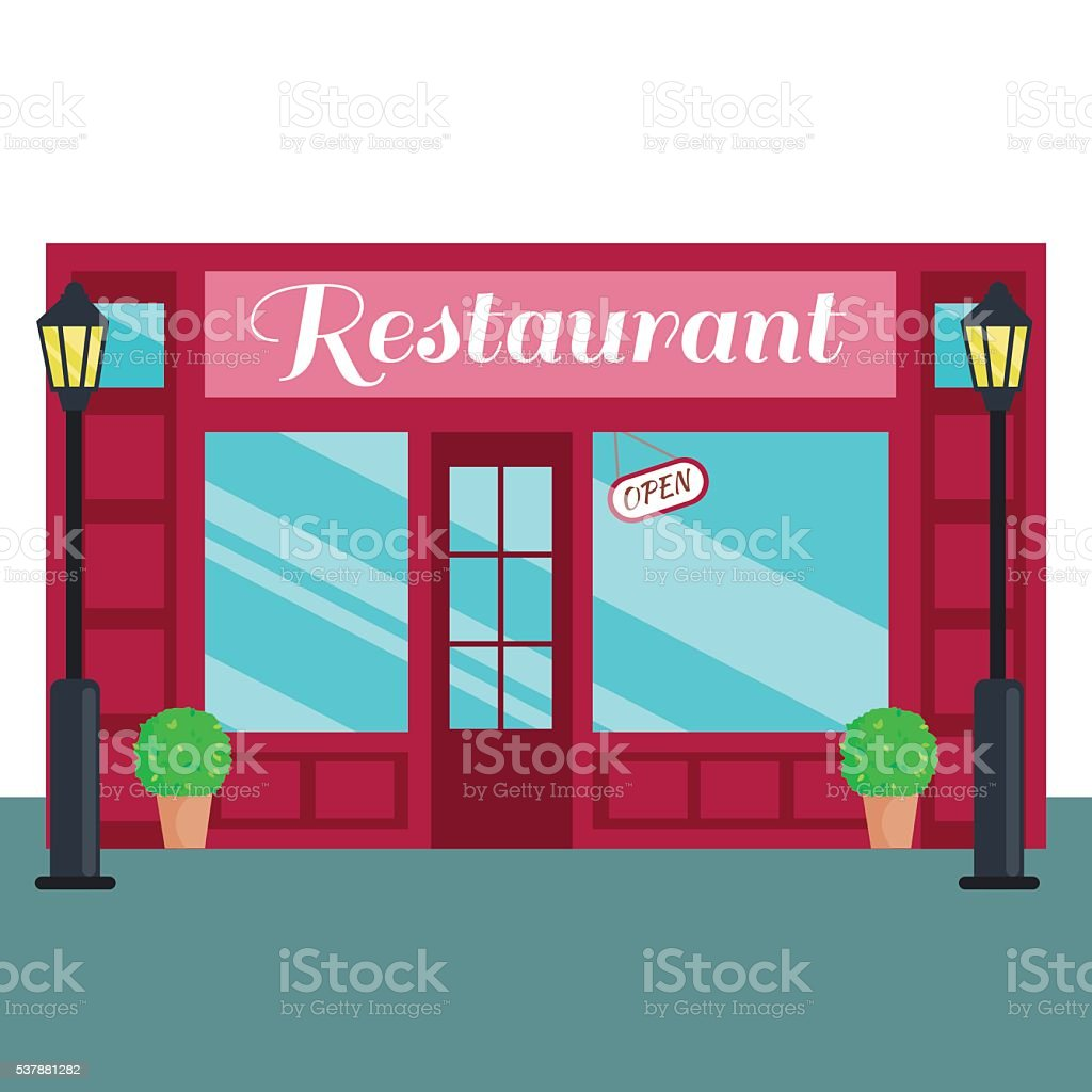 Кestaurant Caffee front flat style Vector illustration building exterior vector art illustration