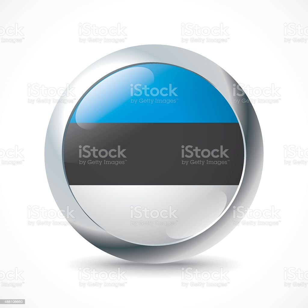 Estonia flag button vector art illustration