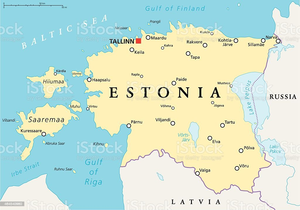 Estonia Political Map vector art illustration