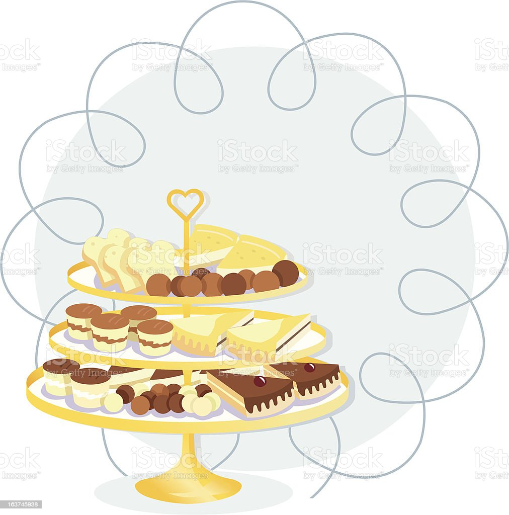 Etagere with cakes and truffles. vector art illustration