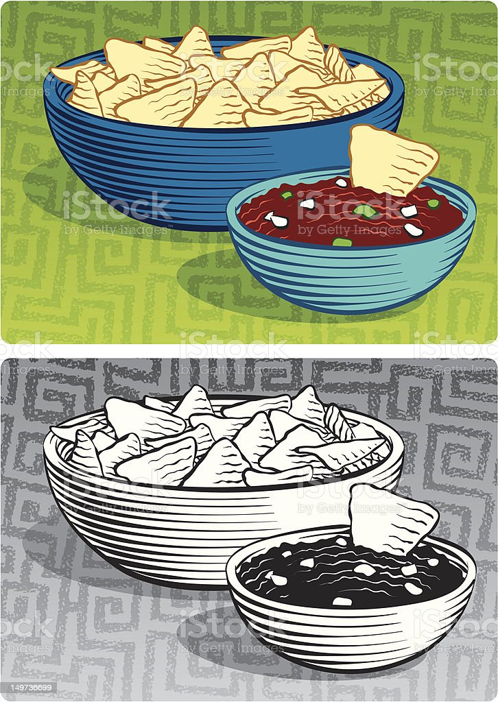Etched Style Chips & Salsa vector art illustration