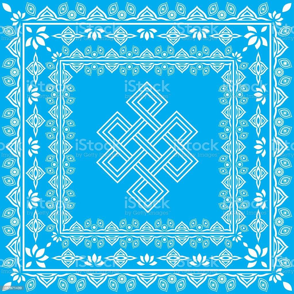 Eternal Knot tibetan sumbol - 1 color royalty-free stock vector art