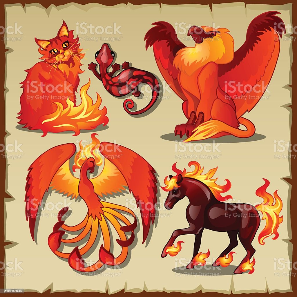 Eternal symbols of fire and simply animals vector art illustration