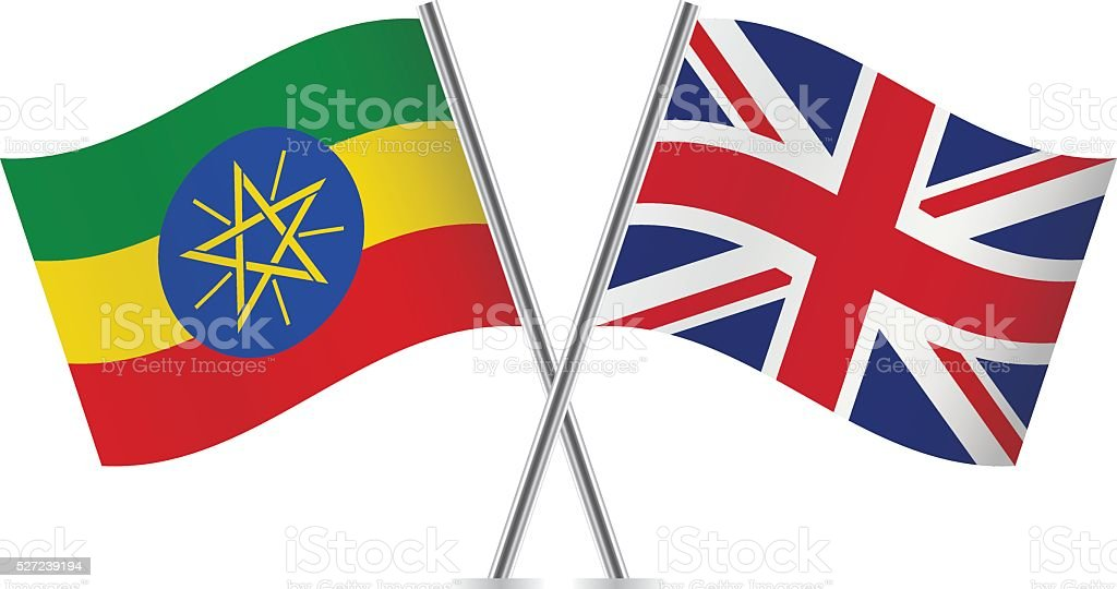 Ethiopian and British flags. Vector. vector art illustration