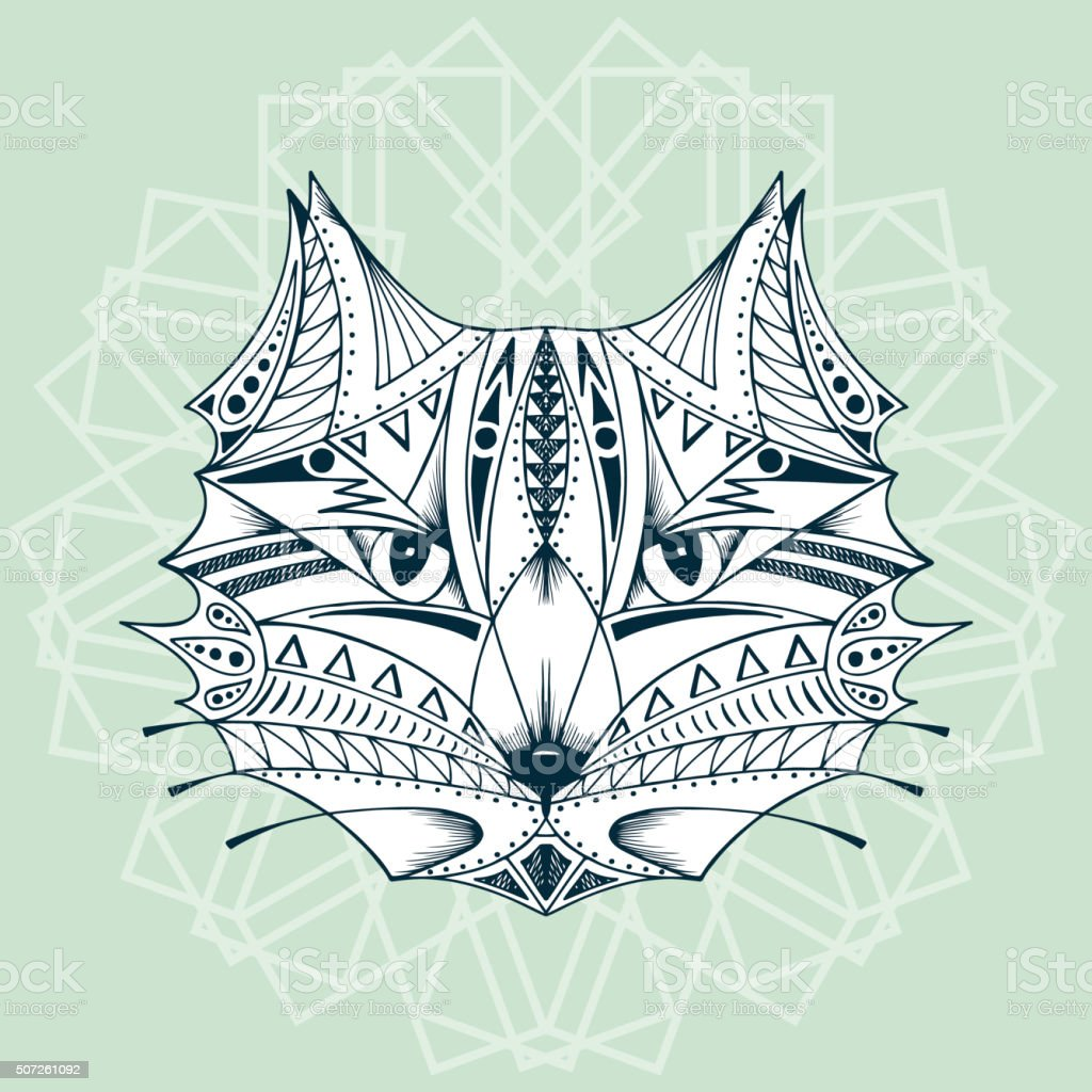 Ethnic animal. Tribal patterned Cat. Cat head. Hand drawn illustration vector art illustration