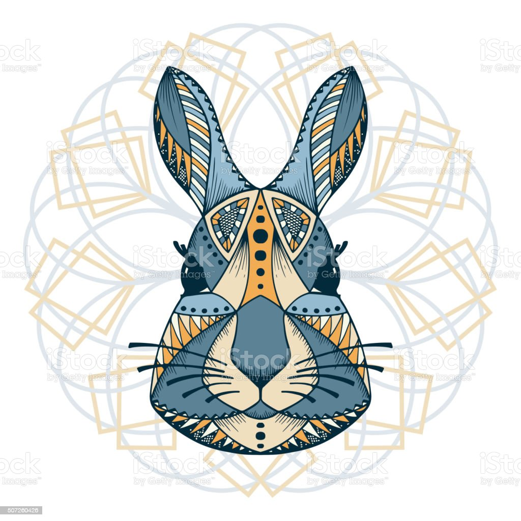 Ethnic animal. Tribal patterned Rabbit. Bunny head. Hand drawn illustration vector art illustration