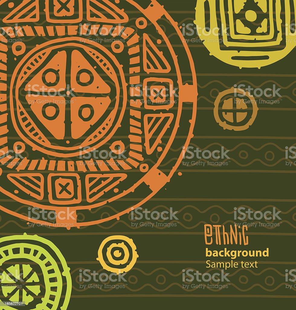 Ethnic background, big orange-yellow circles vector art illustration