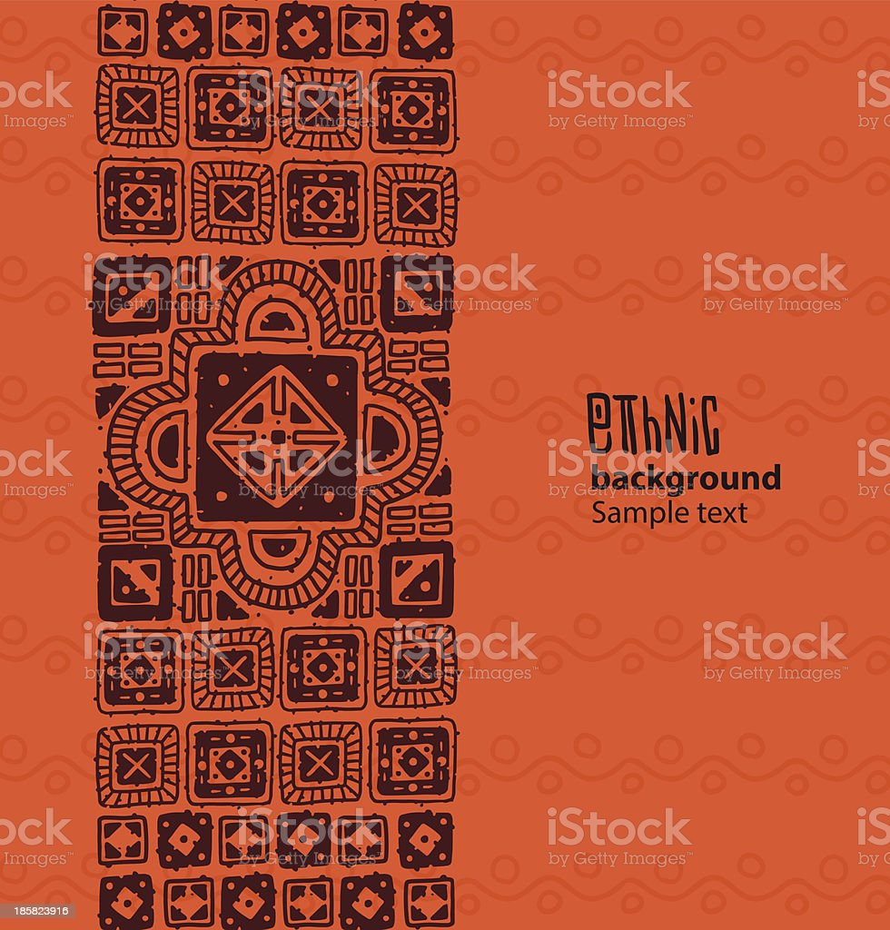 Ethnic background, brown squares from the left side vector art illustration