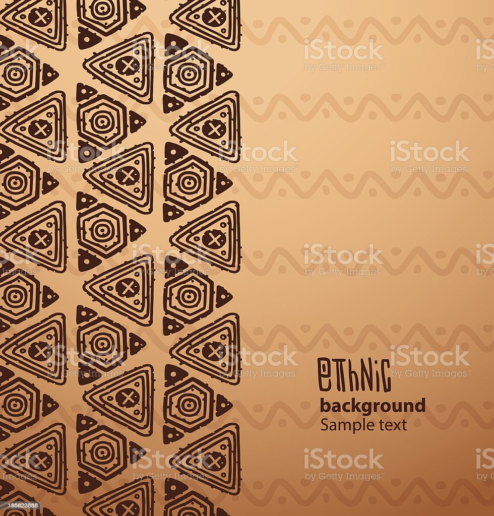 Ethnic background, brown triangles from the left side vector art illustration