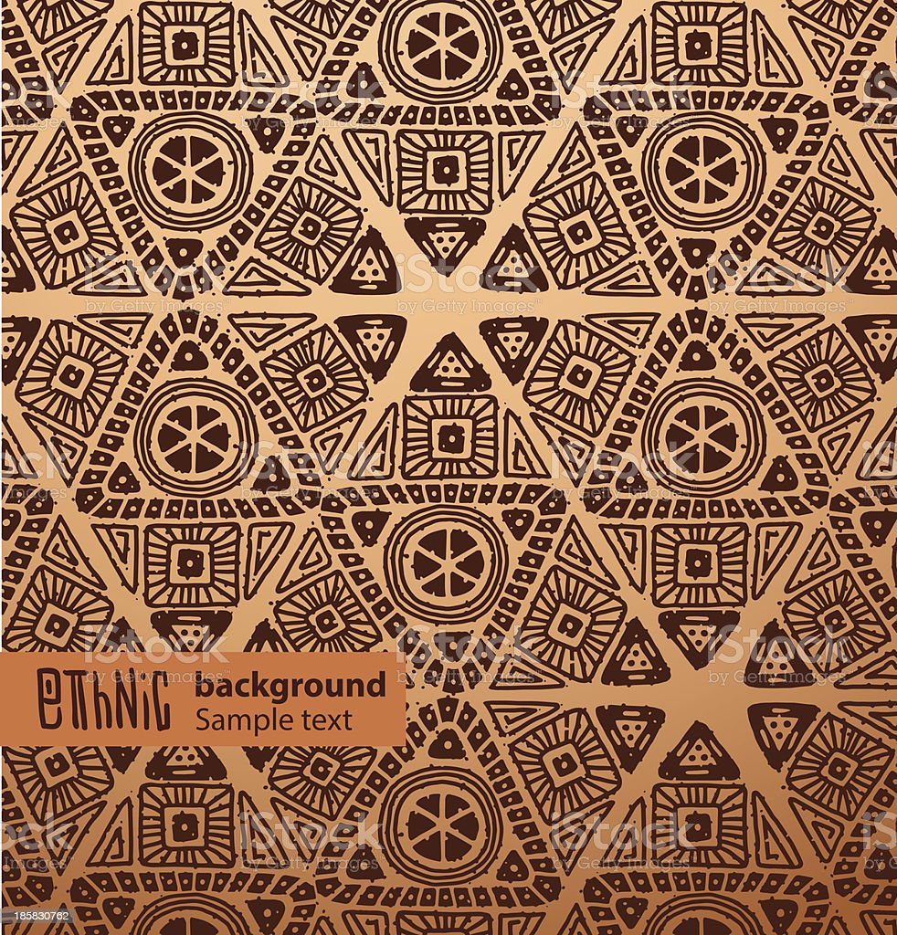 Ethnic background, brown triangles vector art illustration
