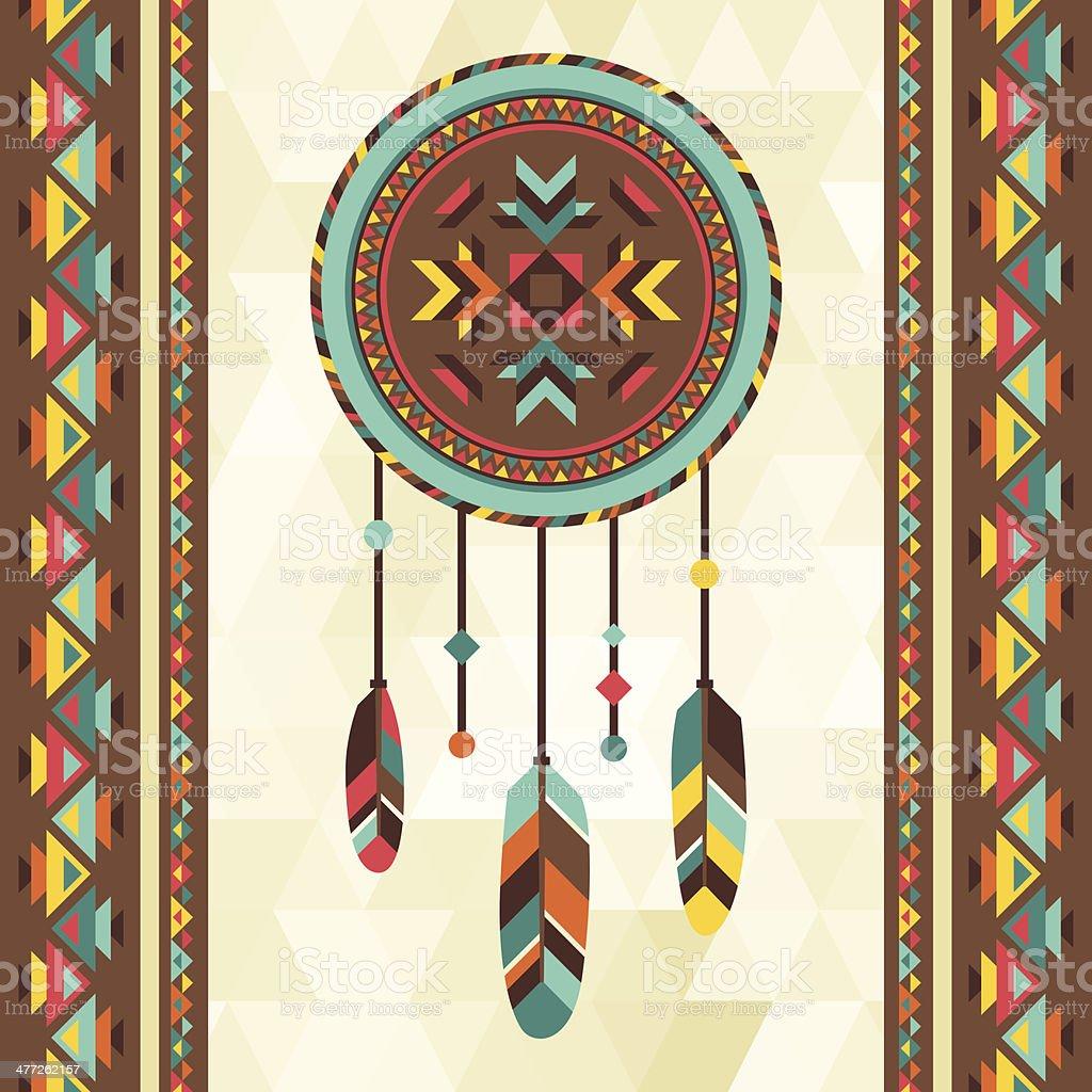 Ethnic background with dreamcatcher in navajo design. vector art illustration