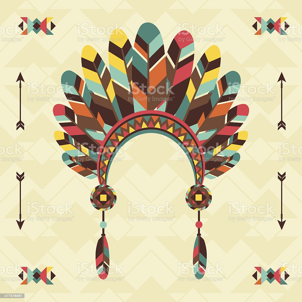 Ethnic background with headband in navajo design. vector art illustration