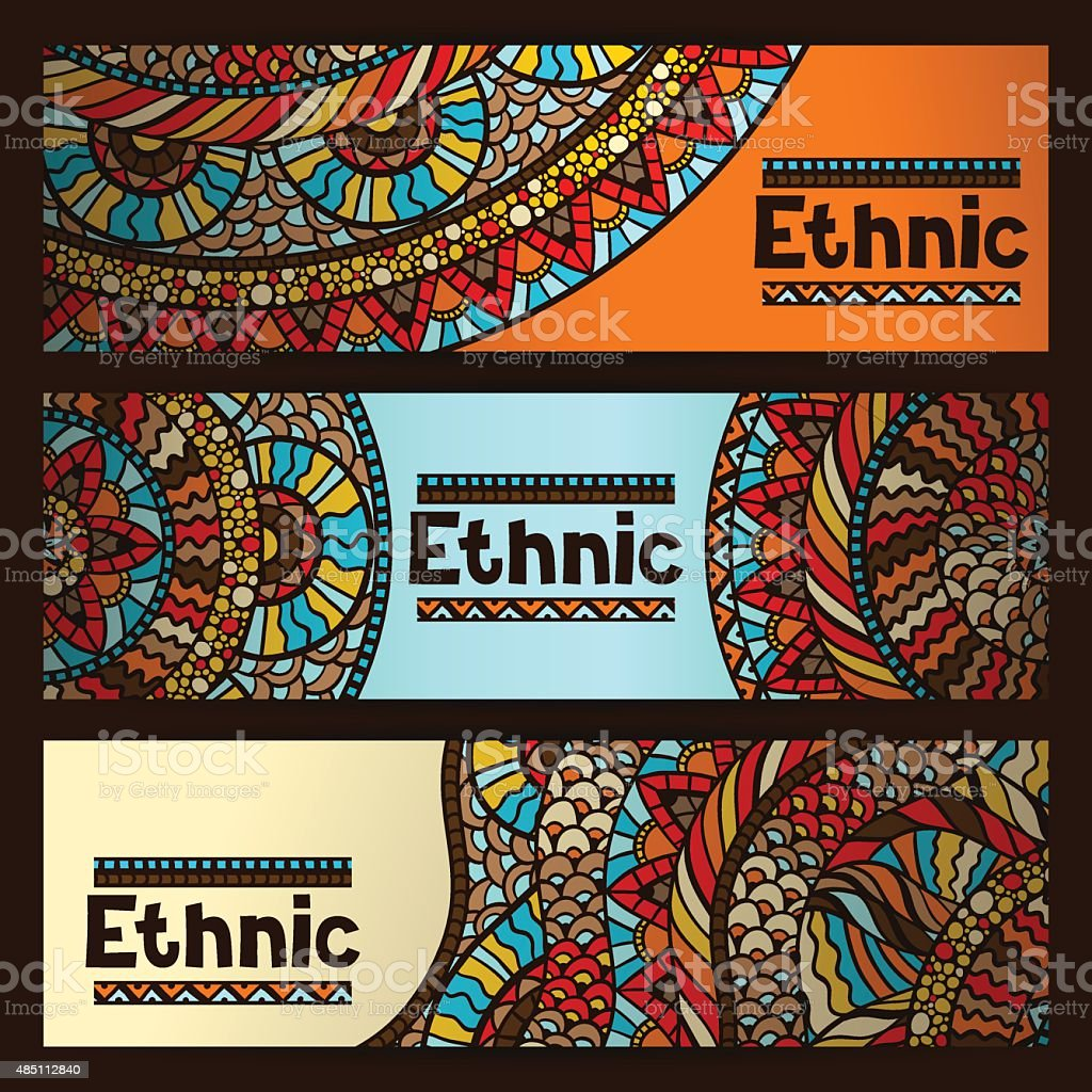 Ethnic banners design with hand drawn ornament vector art illustration