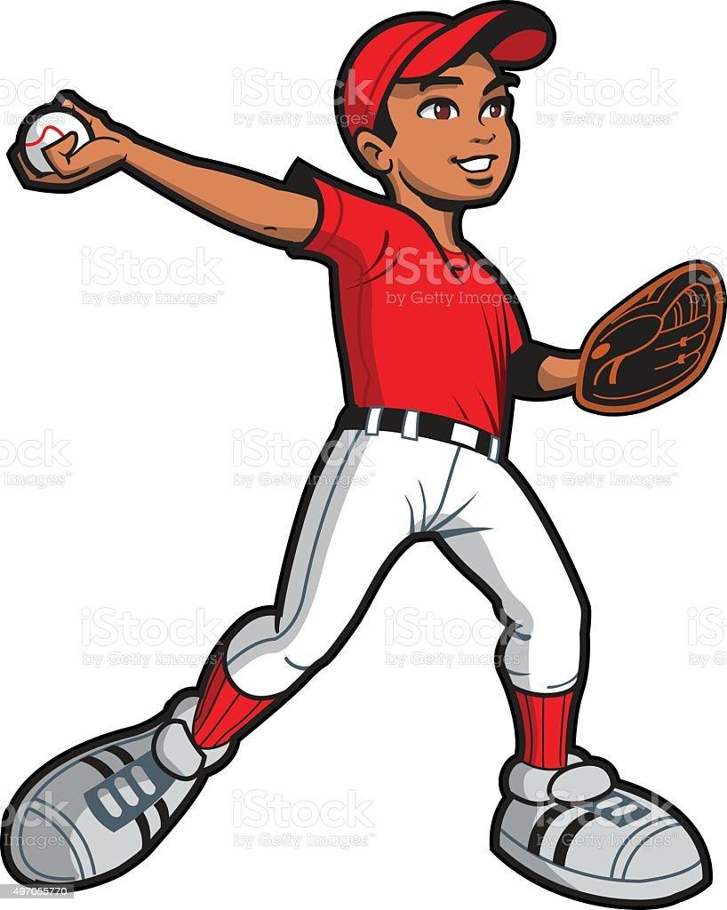 Ethnic Baseball Pitcher vector art illustration