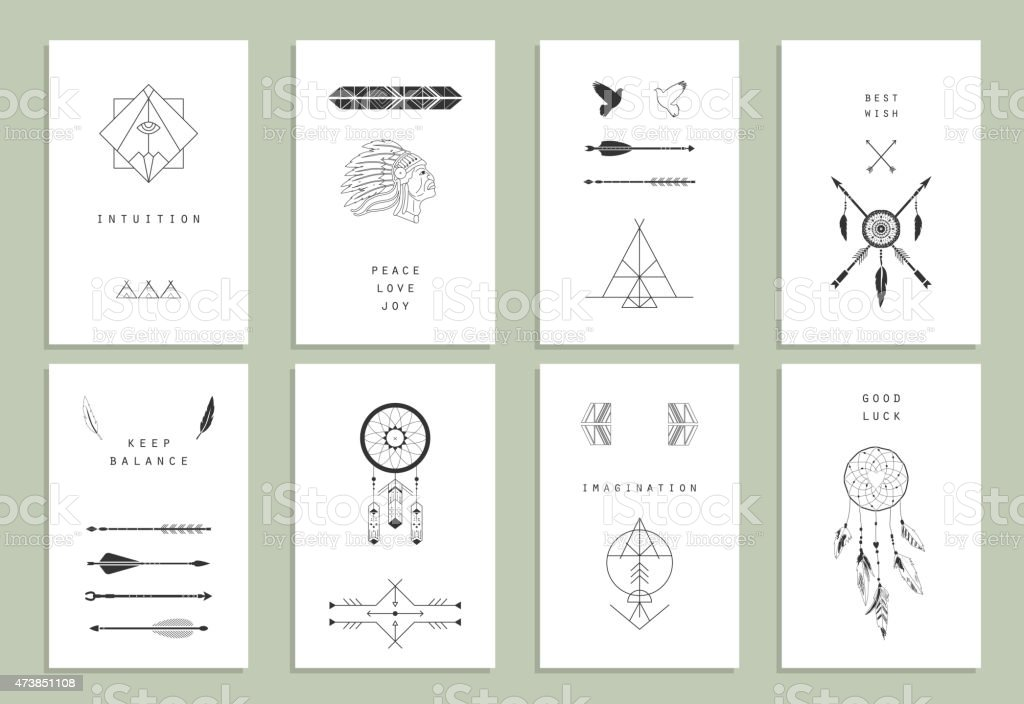 Ethnic cards. Arrows, Indian elements, Aztec borders and embellishments. vector art illustration