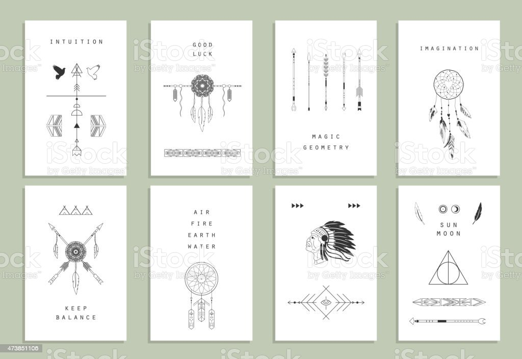 Ethnic cards of Indian elements like arrows and Aztec border vector art illustration