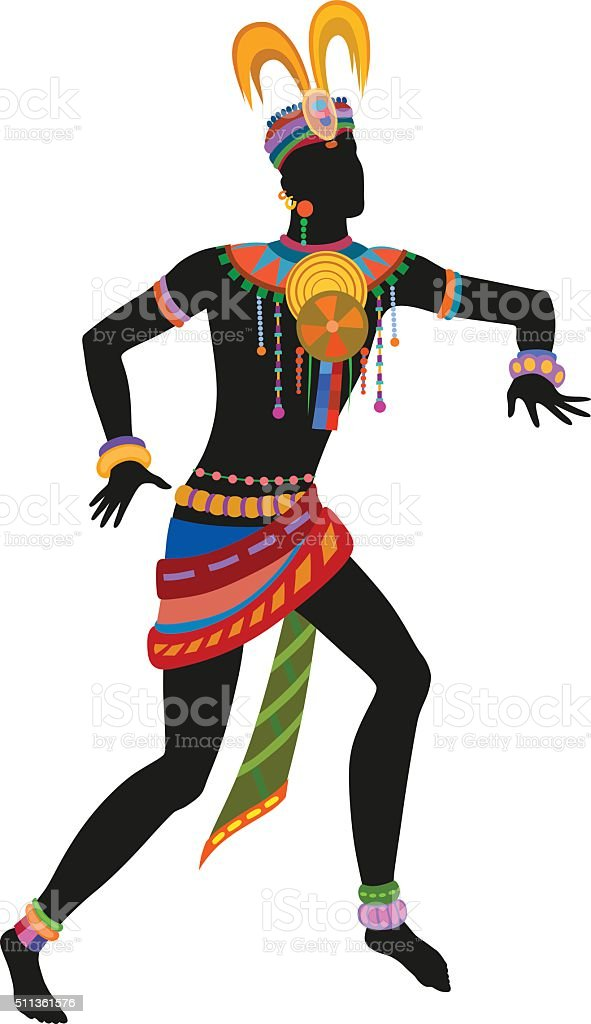 Ethnic dance african man vector art illustration