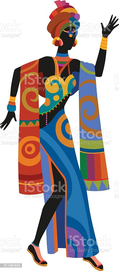 Ethnic dance african woman vector art illustration