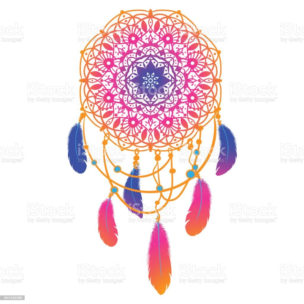 Ethnic Dreamcatcher with mandala vector art illustration
