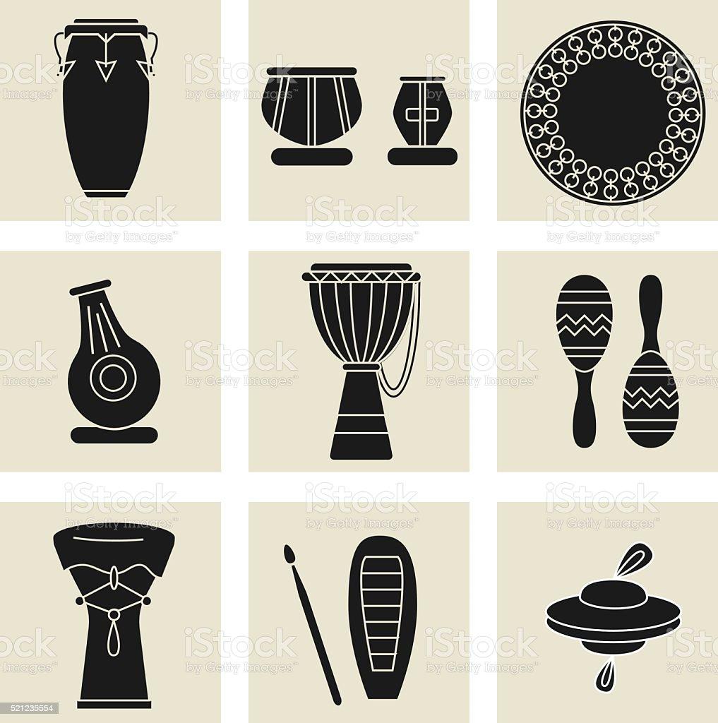 ethnic drums black icons vector art illustration