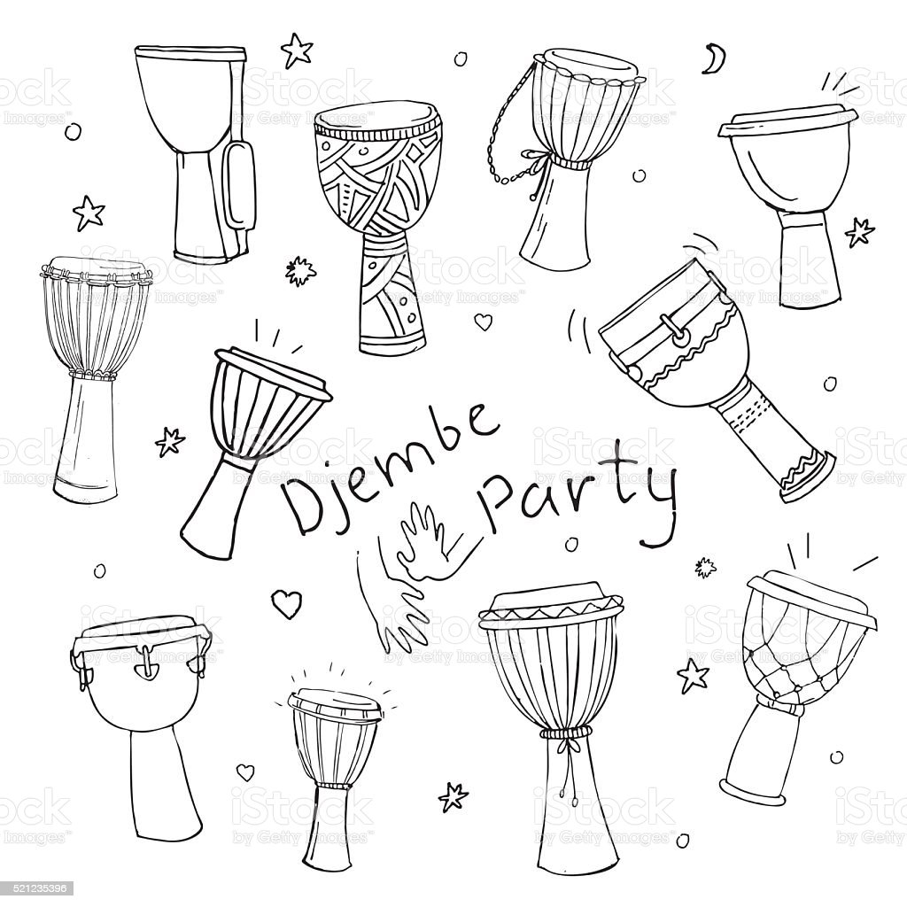 ethnic drums djembe collection vector art illustration