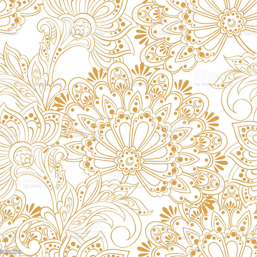 Floral vintage background - Ethnic Flowers Seamless Vector Pattern Floral Vintage Background Royalty Free Stock Vector Art