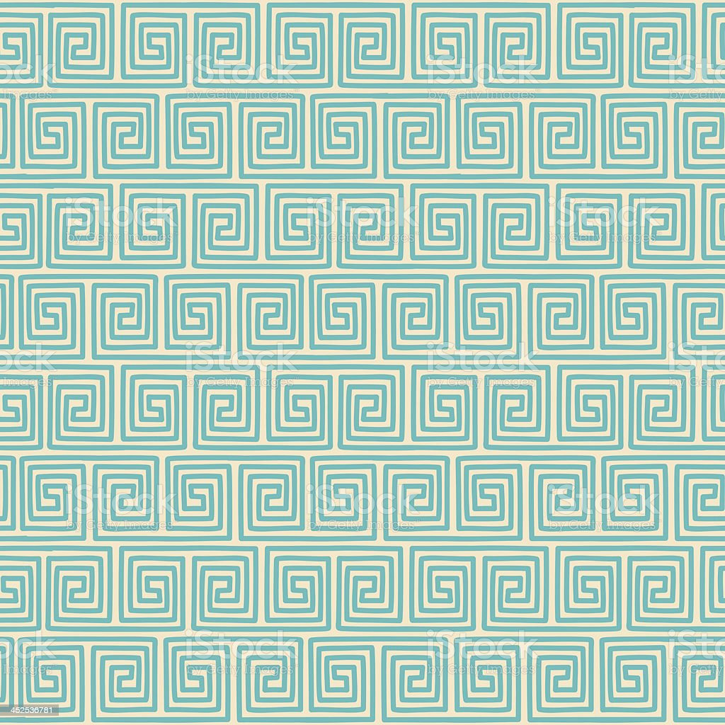 Ethnic geometric seamless pattern on green color vector art illustration
