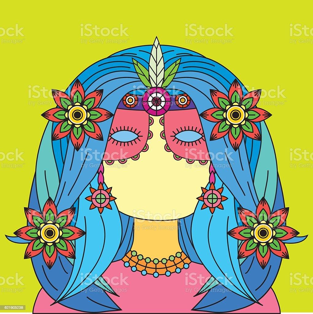 Ethnic Girl Illustration vector art illustration