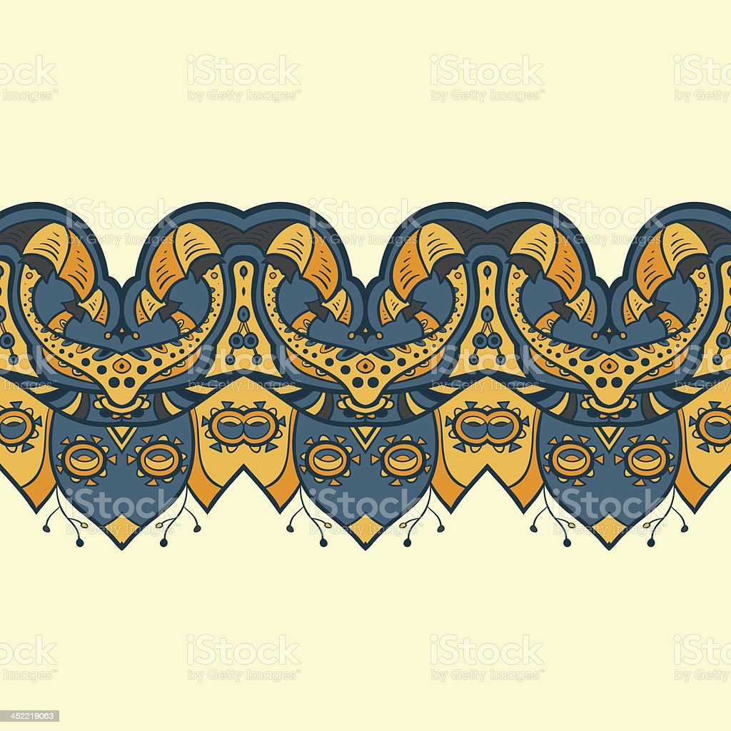 Ethnic horizontal seamless pattern. Indian ornament royalty-free stock vector art