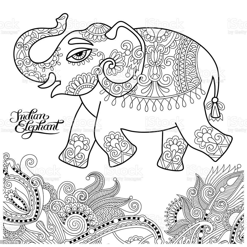 Ethnique éléphant in n ligne de dessins originaux et de coloriage Bo adultes stock vecteur libres de
