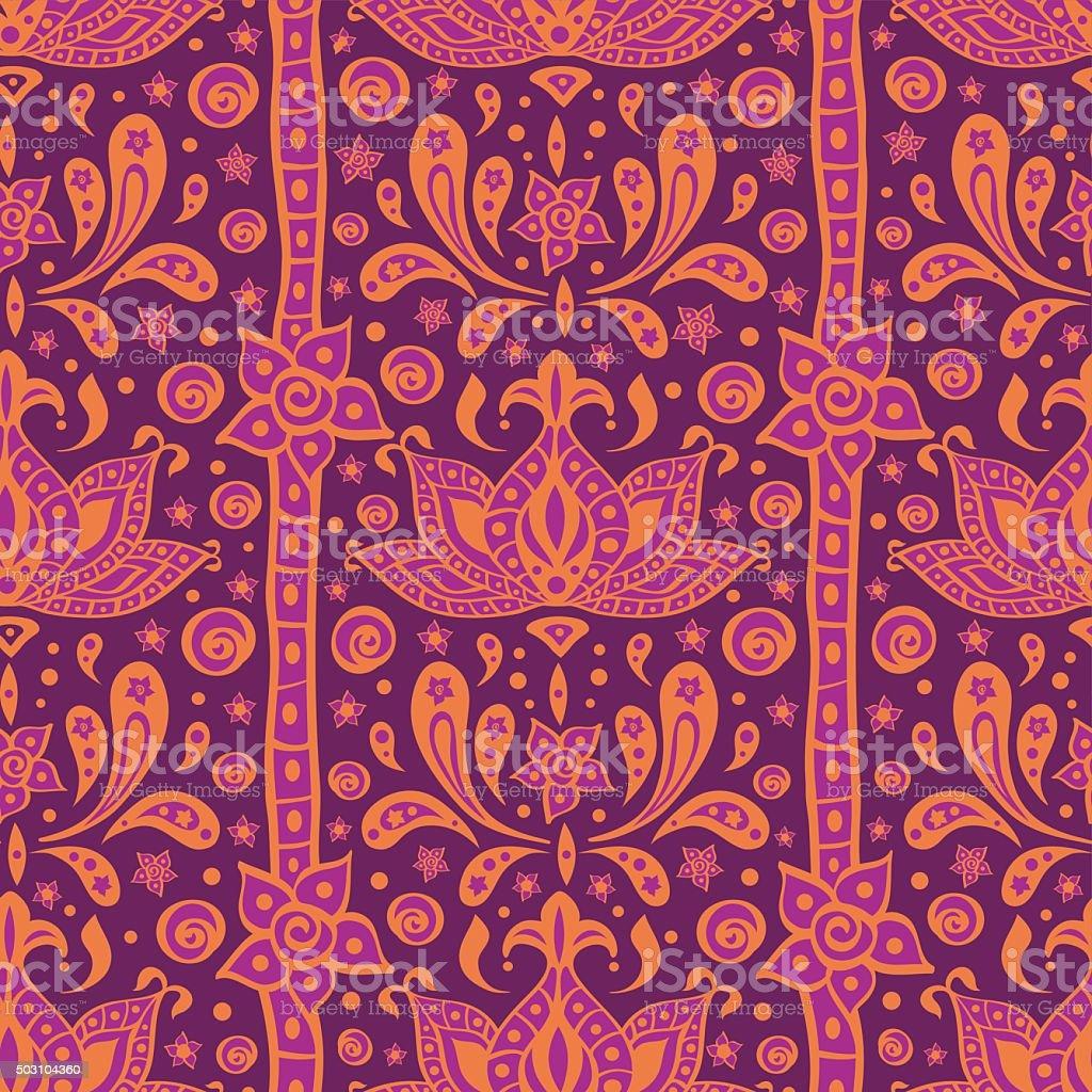 Ethnic indian oriental ornamental seamless pattern in purple and orange vector art illustration