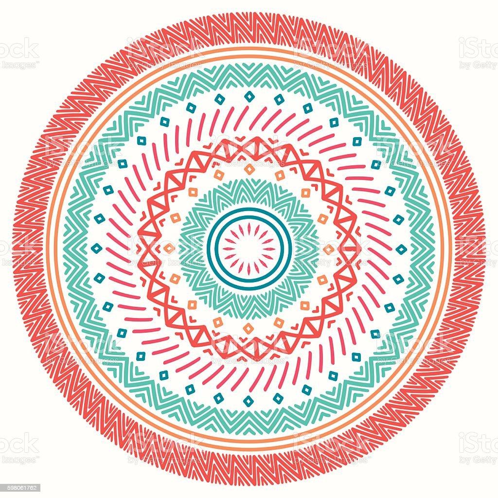 Ethnic mandala. Tribal line geometric seamless pattern. Border. Native tattoo vector art illustration