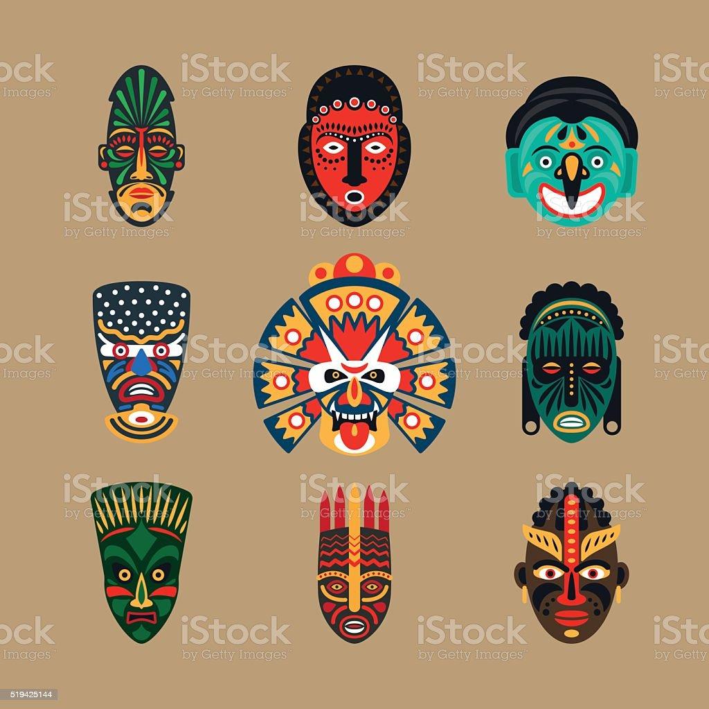 Ethnic mask icons vector art illustration