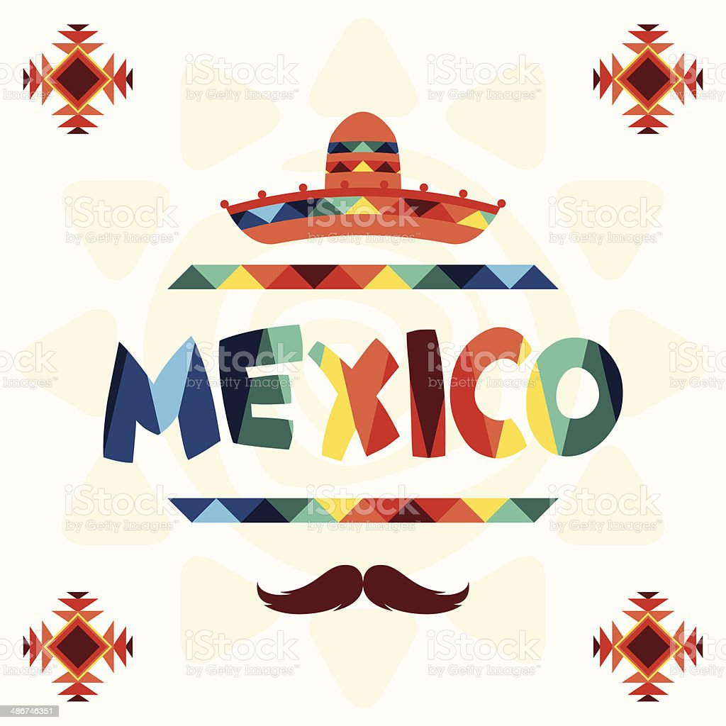 Ethnic mexican background design in native style. vector art illustration