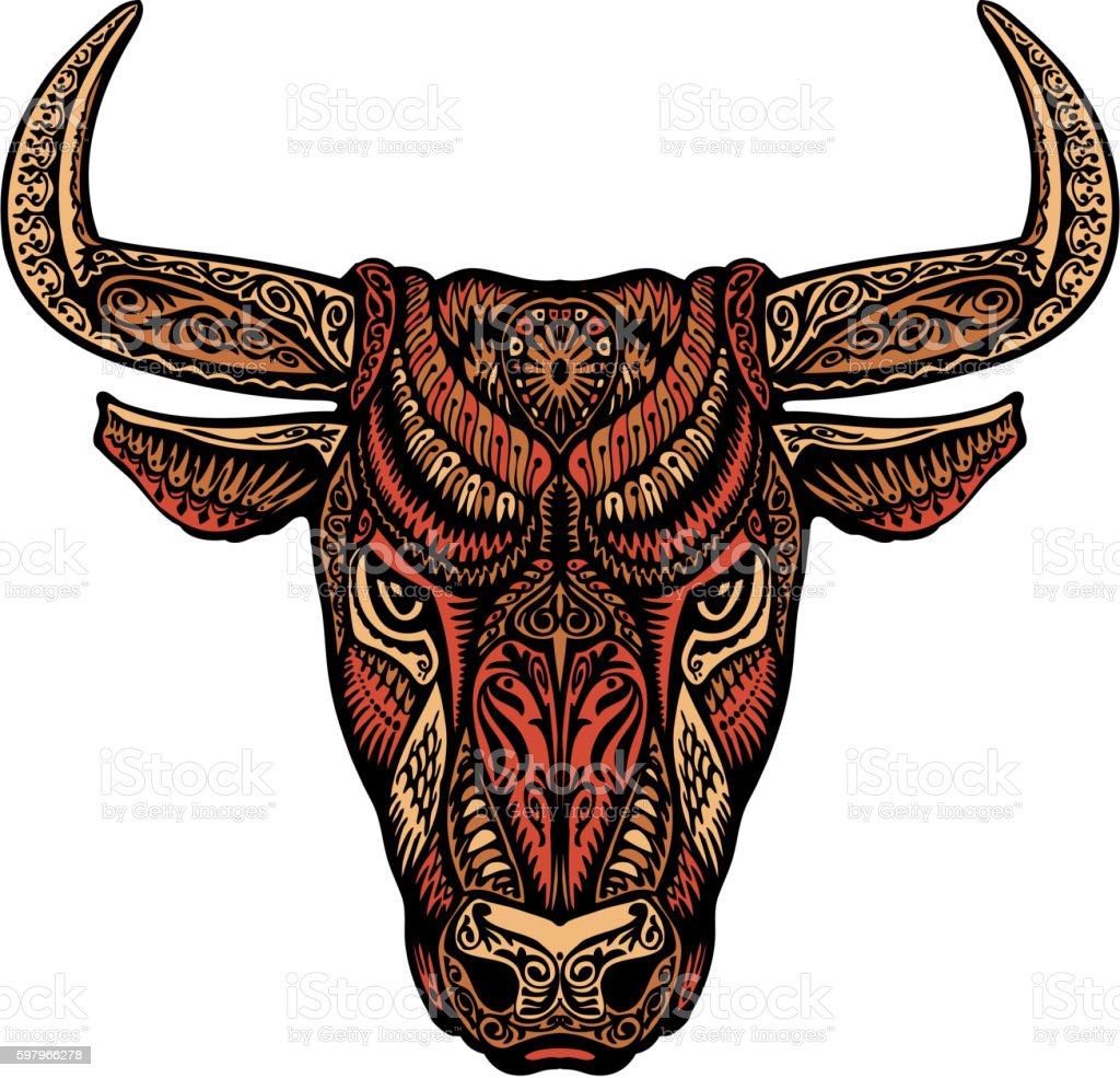 Ethnic ornamented bull or minotaur, taurus. Vector illustration vector art illustration