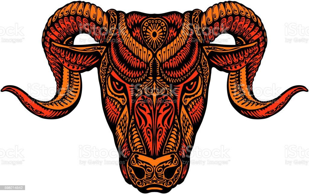 Ethnic ornamented horned sheep. Satan, lucifer, devil symbol. Vector illustration vector art illustration