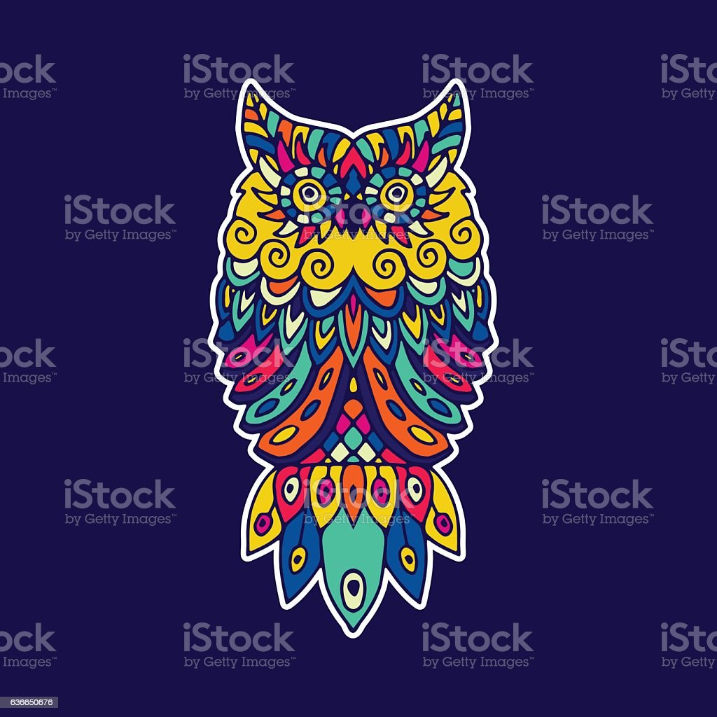 Ethnic pattern with the image of an owl royalty-free stock vector art