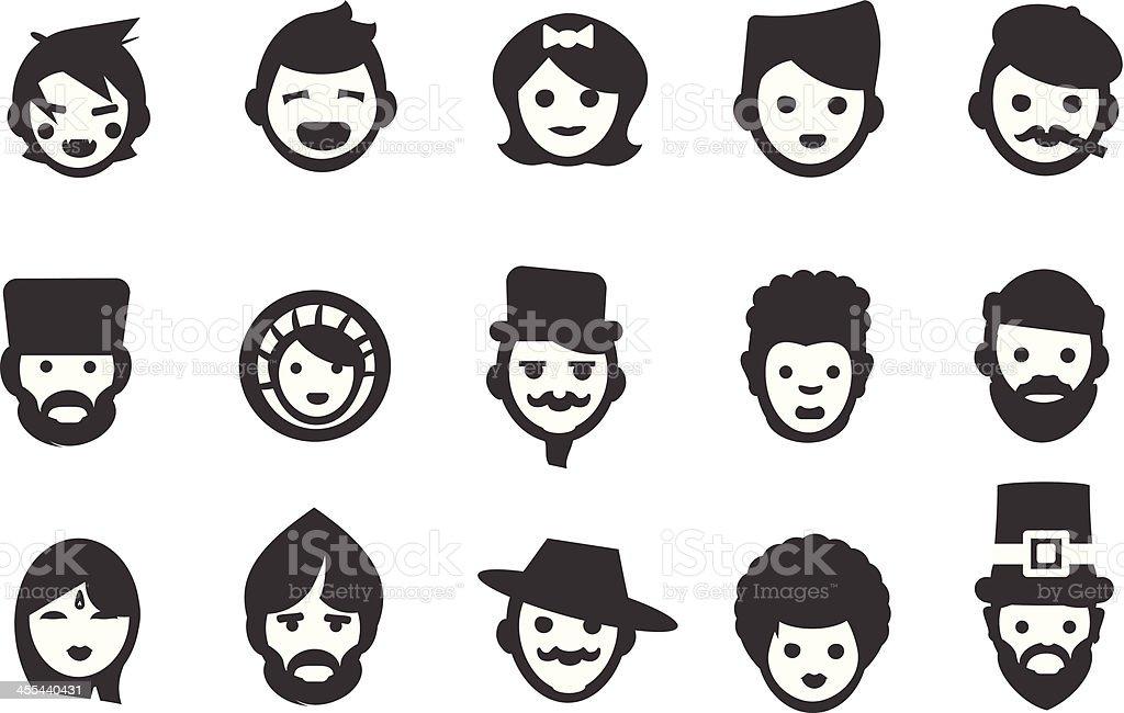 Ethnic People Icons vector art illustration