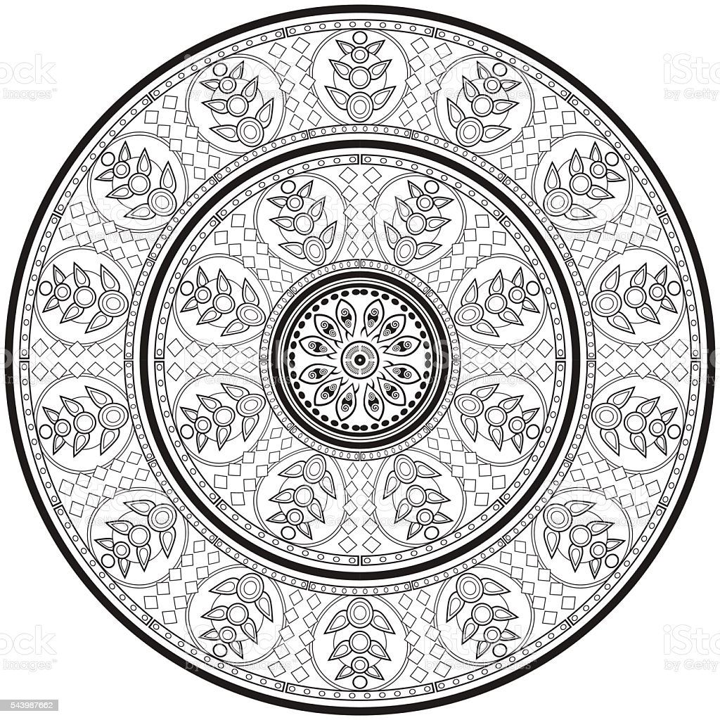 Ethnic round ornament for art-therapy vector image. vector art illustration
